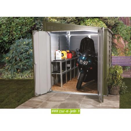 Abri de jardin metal vert de trimetal for Abri garage jardin