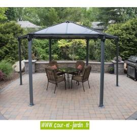 Tonnelle aluminium Couv'Terrasse hexagonale avec toit polycarbonate - pergola alu -