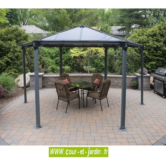 tonnelle couv 39 terrasse pergola hexagonale aluminium. Black Bedroom Furniture Sets. Home Design Ideas