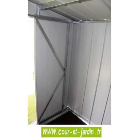 vue intérieure sur la porte de l'abri pour moto TITAN 8x8 Duramax - Abri de jardin métallique