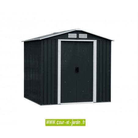 Abri de jardin metal TITAN 8x8 Duramax (ext. toit 261x242) S: 6,31 m2 - Ces abris 8x8 doivent être fixés au sol - Abri motos