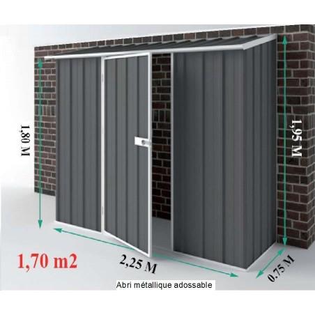 Dimensions de cet abri de jardin en metal Compact 1,7 m² en métal (de 225 cm x 75)