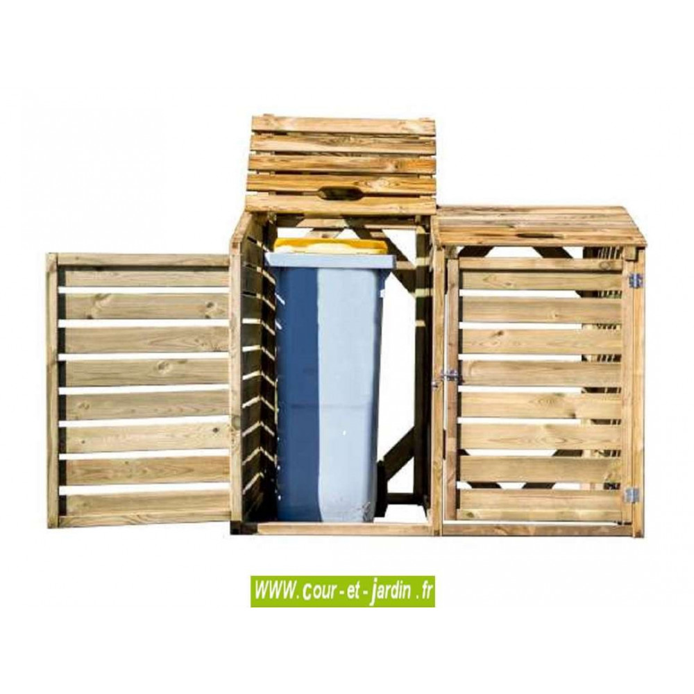 cache poubelle double pas cher cache poubelle en bois trait. Black Bedroom Furniture Sets. Home Design Ideas