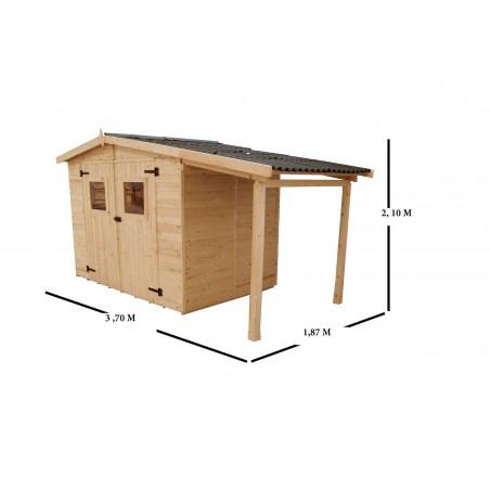 Dimensions hors tout des abris bois ED 2416.01B avec un petit bucher bois. Ces abris de jardin en bois ne sont  pas traités.