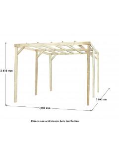 Dimensions du Carport bois CAR3050A  5mx3 non couvert 15m²