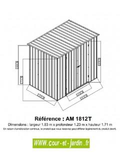 Dimensions de l'Abri jardin metal, Abri de jardin monopente 183x123cm (2,25m²)