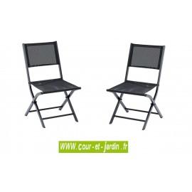 Lot 2 chaises pliantes MODULO noire - alu textilène
