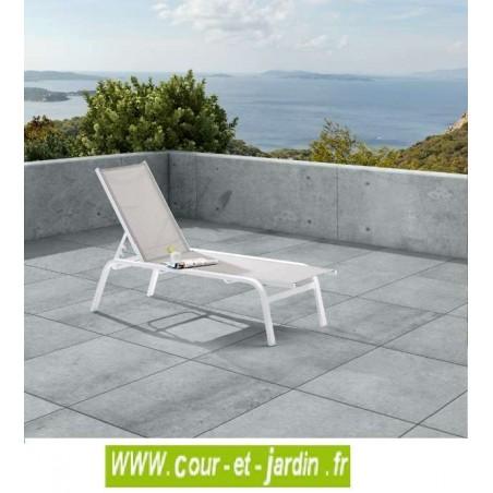 Bain de soleil week end alu textil ne blanc for Transat bain de soleil blanc