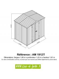 Dimensions de l'abri de jardin metal Am1912T, petit abri de jardin