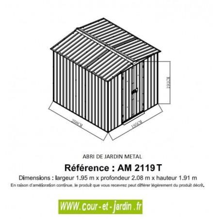 Dimensions de l'Abri jardin AM2119T, petit abri de jardin (4m²) )