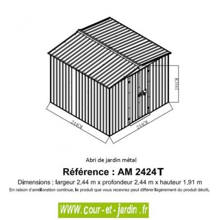 Dimensions de l'Abri de jardin metal AM2424T, abri métallique de 6 m²
