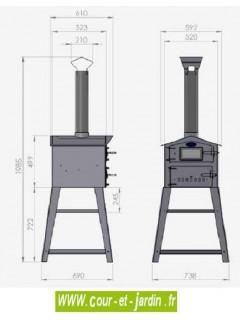 Dimensions des Fours a pizza Vulcano 2 -  Ces fours à pain ou fours à pizzas sont des fours à bois