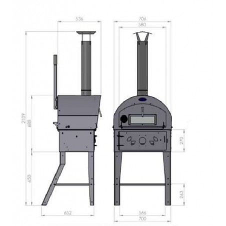 Four Barbecue Vulcano 3 - dimensions
