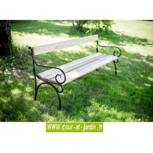 Banc de jardin fer forgé, acier et bois, métal, pas cher, bancs de ...