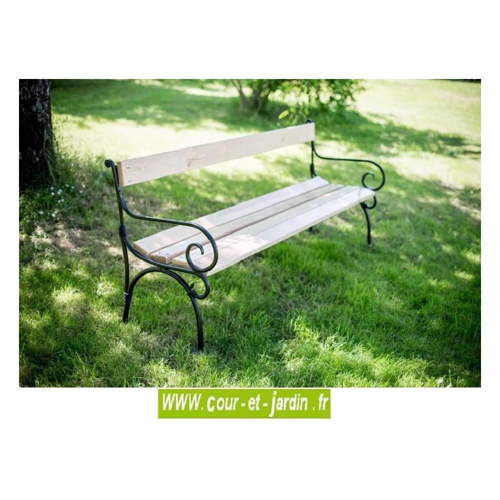 Banc de jardin en fer: Alma, à lattes bois et pieds métal ...