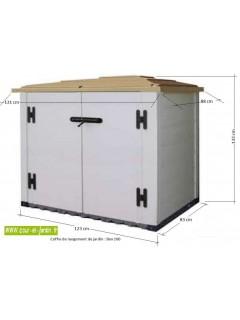 """Dimensions du coffre exterieur  pvc """"BOX 100""""  -  coffre de jardin pas cher -  Box de rangement pour jardin"""