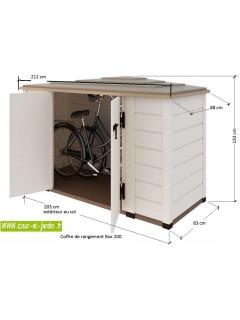 Dimensions du coffre rangement BOX 200 -  abri jardin PVC