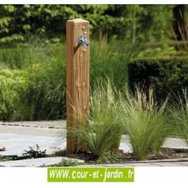 """Fontaine extérieure avec robinet en polyéthylène imitation bois clair """"wood"""" -  Fontaine de jardin"""