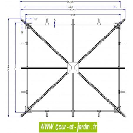 Vue de dessus dimensions de la tonnelle en kit  3x3 gris anthracite - tonnelle moderne