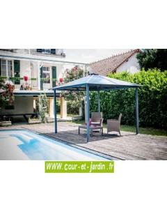 Tonnelle 3x3 gris anthracite à toit polycarbonate - tonnelle aluminium ou pergola alu