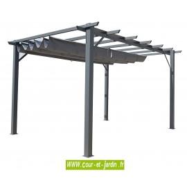 Pergola terrasse mixte alu / acier de 4mx3 coloris gris anthracite avec toile repliable