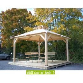 """Tonnelle de jardin en bois""""Spacio"""" (4x4), ou tonnelle autoportée, vendue sans bancs ni table ni terrasse"""