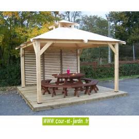 """Tonnelle terrasse en bois """"Spacio"""" à ventelles et bâche"""