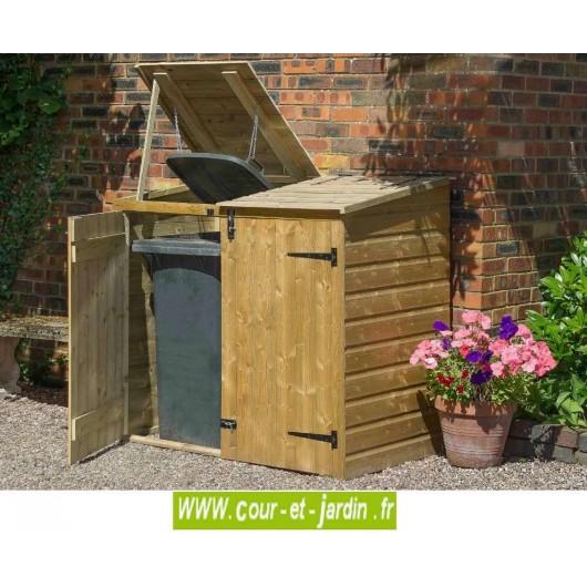 Coffre de rangement poubelle, cache poubelle double en bois