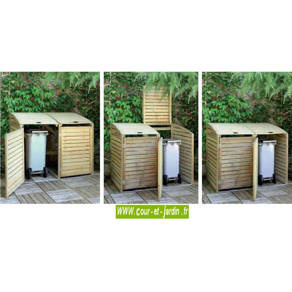 site réputé 62fd0 640a8 Cache poubelle bois double de jardin, Abri poubelle double en bois