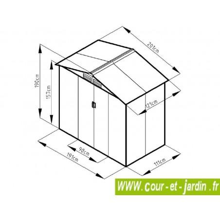 Dimensions de l'Abri metal gris imitation bois vieilli  6x4