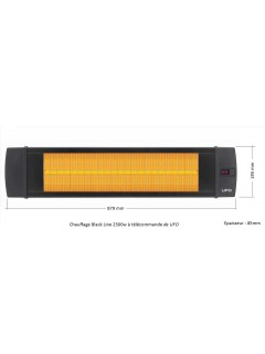 Dimensions du Chauffage terrasse electrique infrarouge Black line 2500w, noir, IP55, à télécommande