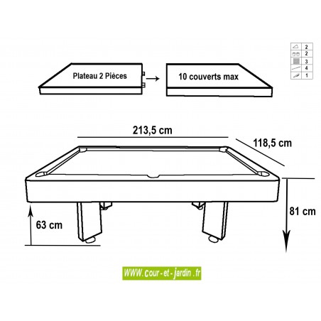 Dimensions du billard transformable table