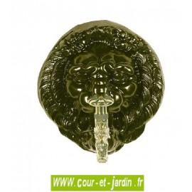 """Mascaron Tête de lion coloris vieux bronze à robinet laiton ancien """"Colvert"""" - Fontaine jardin"""