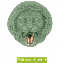Mascaron Tête de lion coloris vert antique, à bec verseur - Fontaine murale de jardin
