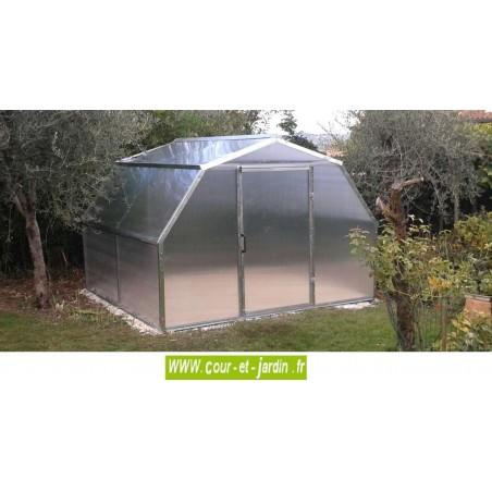 Serre de jardin Flora acier galva et polycarbonate de 3,25 x 3m