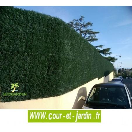Haie artificielle THUYA vert foncé en PLAQUES de 50cmx50 en carton de 3m²