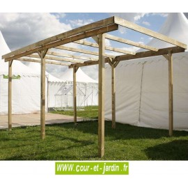Carport bois IMPERIA 5mx3 couverture PVC 15m²