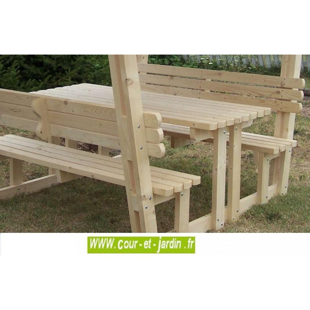 table pique nique bois avec banc et tonnelle de jardin nice. Black Bedroom Furniture Sets. Home Design Ideas