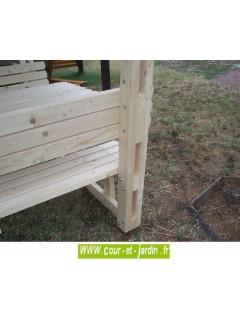 """Table forestière bois avec tonnelle """"Nice"""" - Table bois avec banc intégré"""