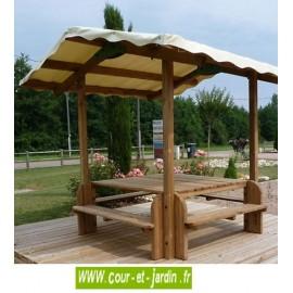 Table de pique nique bois avec tonnelle -  cette Table forestière Élite ou table avec banc, est en bois traité cl.4