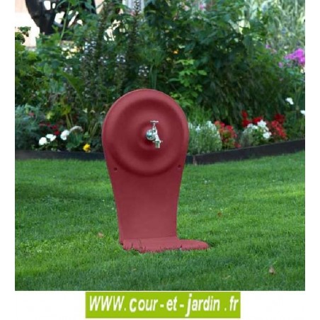 Fontaine de jardin en fonte QUINO grand modèle avec vasque, coloris rouge 2200 - Fontaine de la fonderie dommartin