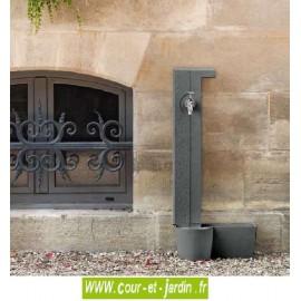 """Borne fontaine """"Catessens"""" en aluminium, coloris gris fonte 4111 - Fontaine murale de jardin"""