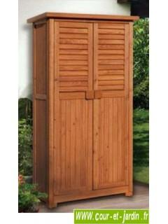 Armoire balcon haute en bois. Cette armoire terrasse ou armoire extérieure PÉPE est en bois raboté lasuré.