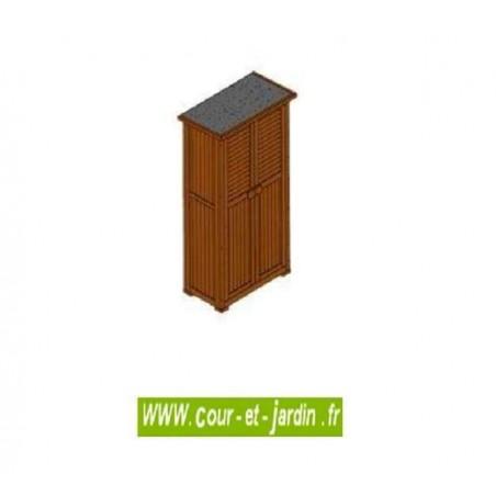 Armoire de jardin ou armoire de terrasse PÉPE. Ce meuble de rangement terrasse est en bois lasuré brun.