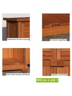 Détails de cette armoire de jardin Pépe.  Ce meuble rangement balcon ou placard pour balcon est en bois raboté lasuré brun.