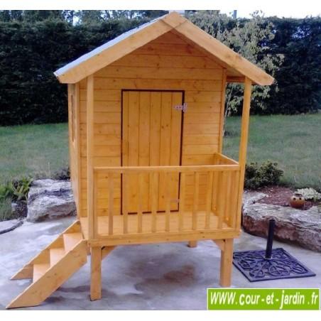 Maisonnette sur pilotis KANGOUROU, cabane enfant en bois