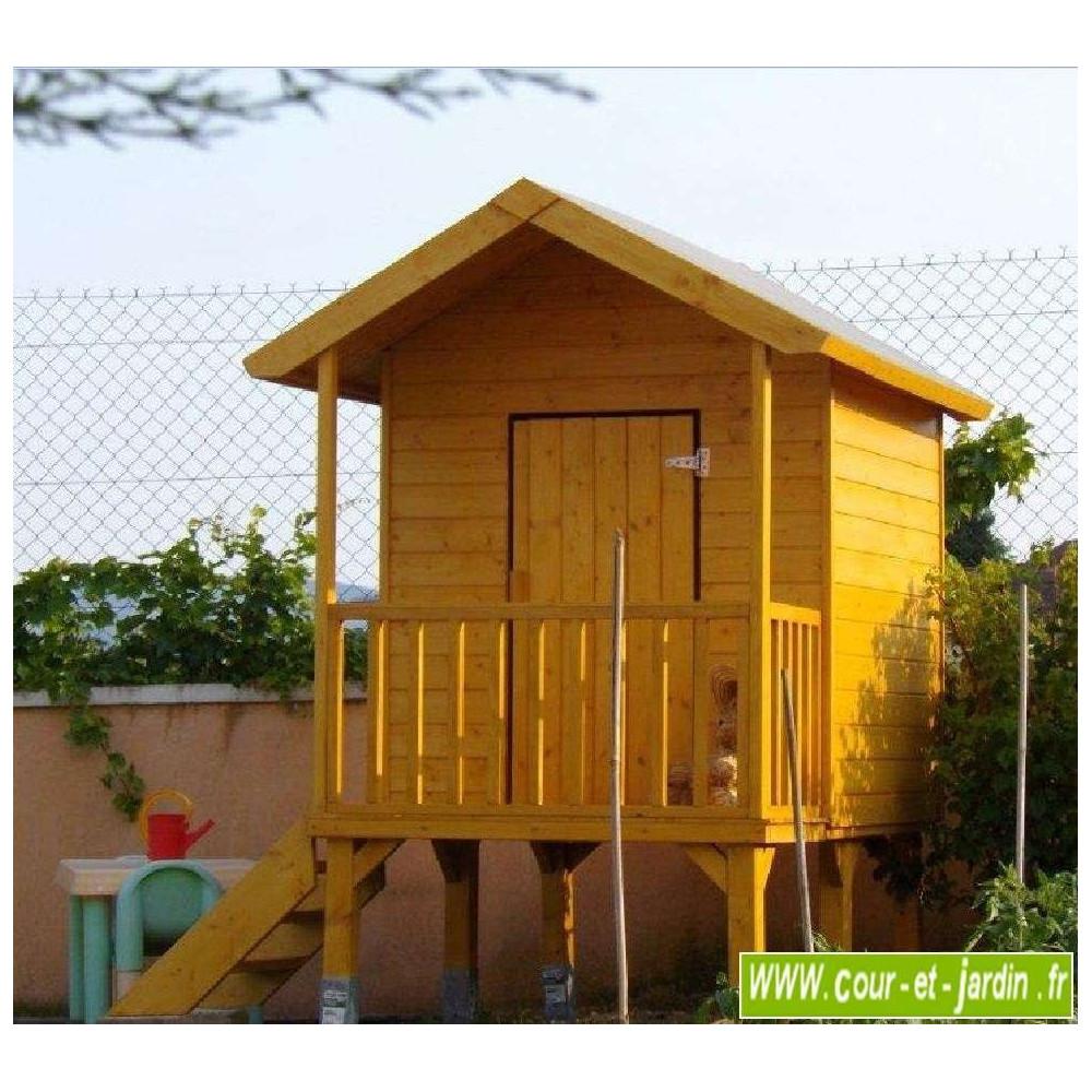 Maisonnette en bois sur pilotis cabane de jardin enfants - Cabane de jardin en bois pour enfants ...