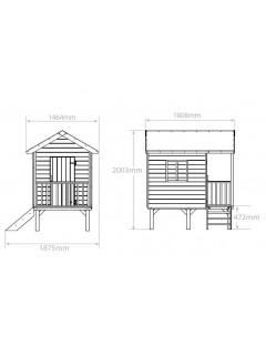 Dimensions de la Cabane en bois enfants KANGOUROU + pilotis, cabane de jardin pour enfant
