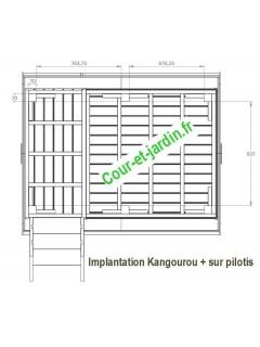 Dimensions de la Maisonnette en bois enfant: KANGOUROU, cabane bois sur pilotis