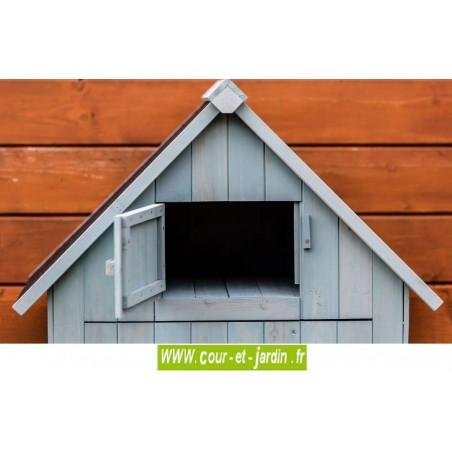 Partie haute de l'Armoire de rangement jardin en bois bleue - avec coffre de rangement